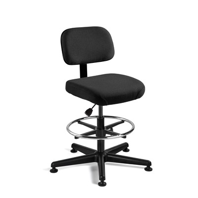 "Bevco 5300-F-BK - Doral 5000 Series Upholstered Chair - Fabric - 20.5""-28"" - Mushroom Glides - Black"
