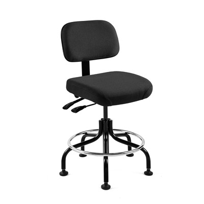 "Bevco 5601-F-BK - Doral 5000 Series Upholstered Chair w/Seat & Back Tilt - Fabric - 25""-30"" - Mushroom Glides - Black"