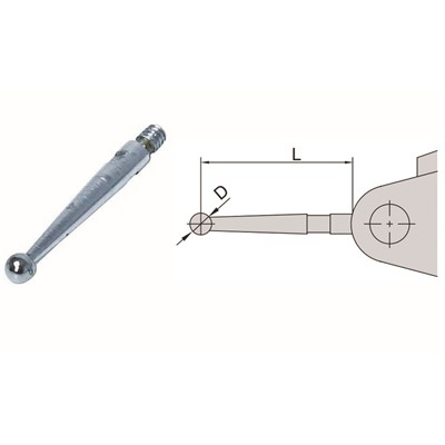 "Insize 6284-13 - Styli for 2380-301 & 2381-301 Dial Test Indicators - Steel Contact Point - 0.563"" x 0.039"" Dia"