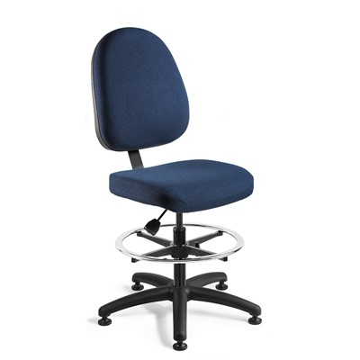 "Bevco 6300-F-NY - Integra 6000 Series Upholstered Office Chair - Fabric - 20""-27.5"" - Mushroom Glides - Navy Blue"