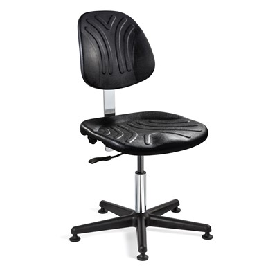 "Bevco 7002DC - Dura 7000D Series Ergonomic ISO 4 Cleanroom Chair w/Independent Seat & Back Tilt - Polyurethane - 15""-20"" - Mushroom Glides - Black"