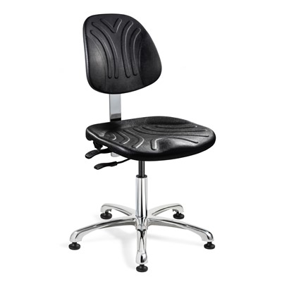 "Bevco 7050DC - Dura 7000D Series Ergonomic ISO 4 Cleanroom Chair w/Manual Back Adjustment - Polyurethane - 14.5""-19.5"" - Mushroom Glides - Black"