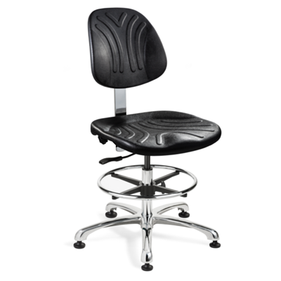 "Bevco 7350DC - Dura 7000D Series Ergonomic ISO 4 Cleanroom Chair w/Manual Back Adjustment - Polyurethane - 18.5""-26"" - Mushroom Glides - Black"