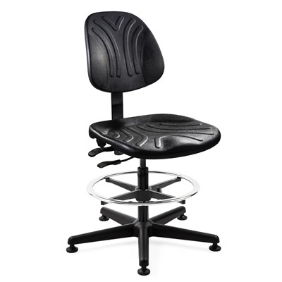 "Bevco 7502DC - Dura 7000D Series Ergonomic ISO 4 Cleanroom Chair w/Independent Seat & Back Tilt - Polyurethane - 21""-31"" - Mushroom Glides - Black"