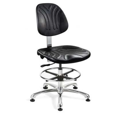 "Bevco 7550D - Dura 7000D Series Ergonomic Chair - Polyurethane - 21""-31"" - Mushroom Glides - Black"