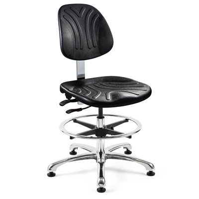 "Bevco 7552DC - Dura 7000D Series Ergonomic ISO 4 Cleanroom Chair w/Independent Seat & Back Tilt - Polyurethane - 20.5""-30.5"" - Mushroom Glides - Black"