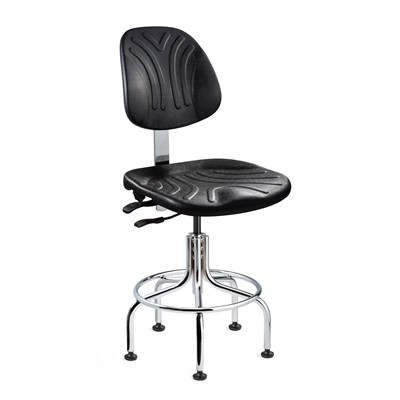 "Bevco 7612DC - Dura 7000D Series Ergonomic ISO 4 Cleanroom Chair w/Independent Seat & Back Tilt - Polyurethane - 24""-29"" - Mushroom Glides - Black"