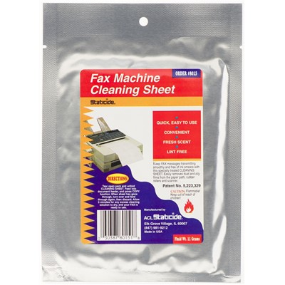 ACL Staticide 8015 - Fax Machine Cleaning Sheet - 1/Pouch - 24 Pouches/Case