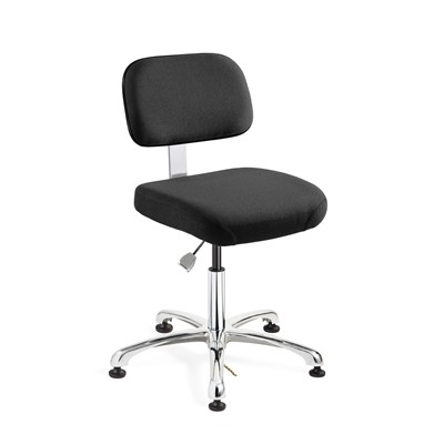 "Bevco 8050-F-EB - Doral-E 8000 Series ESD Laboratory Chair - Static Control Fabric - 15.5""-21"" - ESD Mushroom Glides - Ebony"