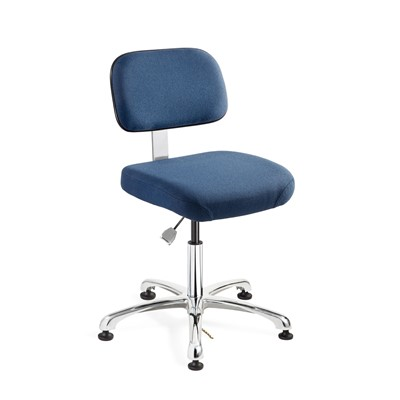 "Bevco 8050-F-NY - Doral-E 8000 Series ESD Laboratory Chair - Static Control Fabric - 15.5""-21"" - ESD Mushroom Glides - Navy Blue"