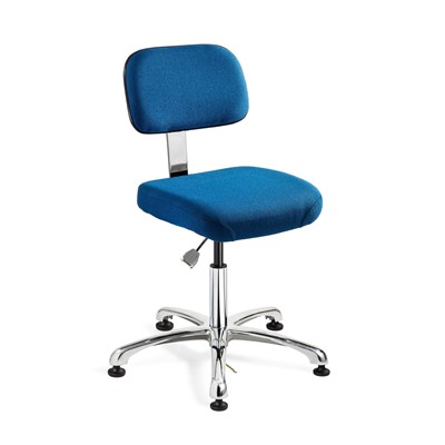 "Bevco 8050-F-SB - Doral-E 8000 Series ESD Laboratory Chair - Static Control Fabric - 15.5""-21"" - ESD Mushroom Glides - Blue"