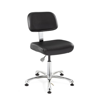 "Bevco 8050-V-BK - Doral-E 8000 Series ESD Laboratory Chair - Static Control Vinyl - 15.5""-21"" - ESD Mushroom Glides - Black"