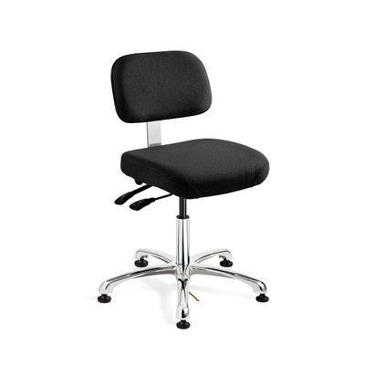 "Bevco 8051-F-EB - Doral-E 8000 Series ESD Laboratory Chair w/Seat & Back Tilt - Static Control Fabric - 15.5""-21"" - ESD Mushroom Glides - Ebony"