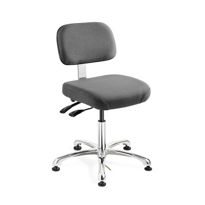 "Bevco 8051-F-GY - Doral-E 8000 Series ESD Laboratory Chair w/Seat & Back Tilt - Static Control Fabric - 15.5""-21"" - ESD Mushroom Glides - Gray"