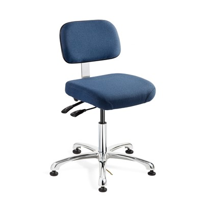 "Bevco 8051-F-NY - Doral-E 8000 Series ESD Laboratory Chair w/Seat & Back Tilt - Static Control Fabric - 15.5""-21"" - ESD Mushroom Glides - Navy Blue"