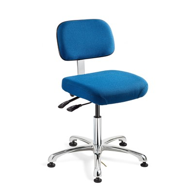 "Bevco 8051-F-SB - Doral-E 8000 Series ESD Laboratory Chair w/Seat & Back Tilt - Static Control Fabric - 15.5""-21"" - ESD Mushroom Glides - Blue"