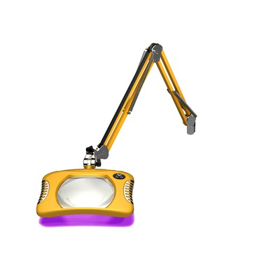 "O.C. White 81400-4-UV-BY - Green-Lite ESD-Safe Rectangle UV LED Magnifier - 2x (4-Diopter) - 30"" - LED/UV - Table Edge Clamp Base - Blazing Yellow"