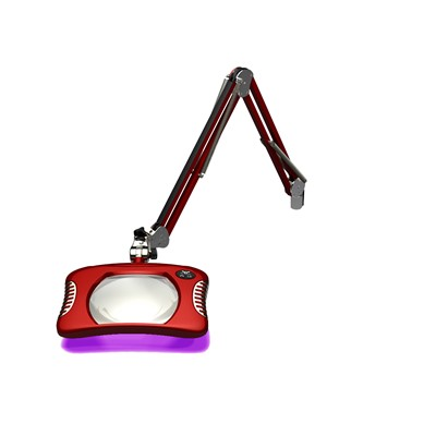 "O.C. White 82400-4-UV-BR - Green-Lite ESD-Safe Rectangle UV LED Magnifier - 2x (4-Diopter) - 43"" - LED/UV - Table Edge Clamp Base - Blaze Red"