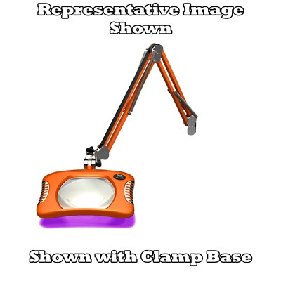 "O.C. White 82600-4-UV-BO - Green-Lite ESD-Safe Rectangle UV LED Magnifier - 2x (4-Diopter) - 43"" - LED/UV - Weighted Base Base - Brilliant Orange"