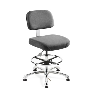 "Bevco 8350-F-GY - Doral-E 8000 Series ESD Laboratory Chair - Static Control Fabric - 19""-26.5"" - ESD Mushroom Glides - Gray"