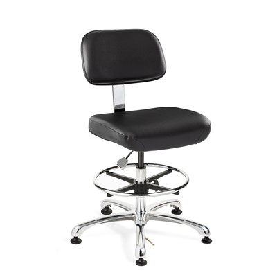 "Bevco 8350-V-BK - Doral-E 8000 Series ESD Laboratory Chair - Static Control Vinyl - 19""-26.5"" - ESD Mushroom Glides - Black"