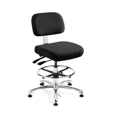 "Bevco 8351-F-EB - Doral-E 8000 Series ESD Laboratory Chair w/Seat & Back Tilt - Static Control Fabric - 19""-26.5"" - ESD Mushroom Glides - Ebony"
