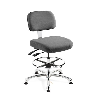 "Bevco 8351-F-GY - Doral-E 8000 Series ESD Laboratory Chair w/Seat & Back Tilt - Static Control Fabric - 19""-26.5"" - ESD Mushroom Glides - Gray"