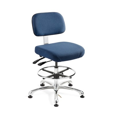 "Bevco 8351-F-NY - Doral-E 8000 Series ESD Laboratory Chair w/Seat & Back Tilt - Static Control Fabric - 19""-26.5"" - ESD Mushroom Glides - Navy Blue"