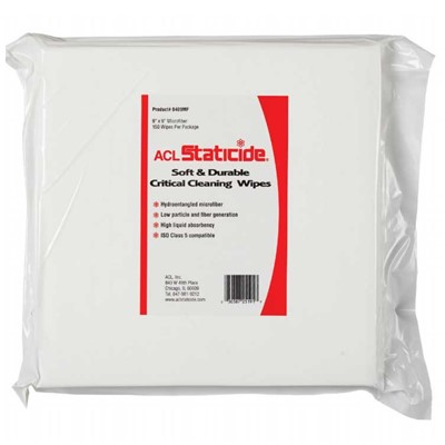 "ACL Staticide 8409MF - Staticide Microfiber Wipes - 9"" x 9"" - 6 Bags/Case"