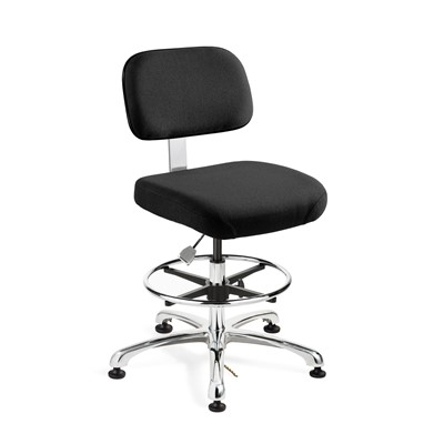 "Bevco 8550-F-EB - Doral-E 8000 Series ESD Laboratory Chair - Static Control Fabric - 21.5""-31.5"" - ESD Mushroom Glides - Ebony"
