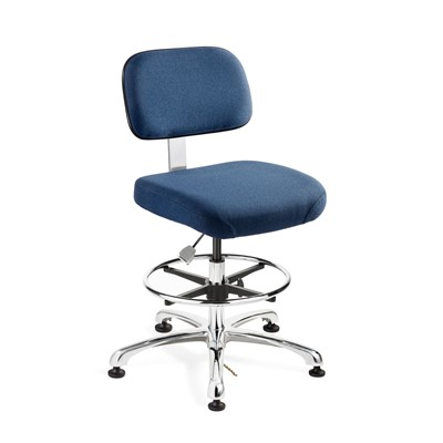"Bevco 8550-F-NY - Doral-E 8000 Series ESD Laboratory Chair - Static Control Fabric - 21.5""-31.5"" - ESD Mushroom Glides - Navy Blue"