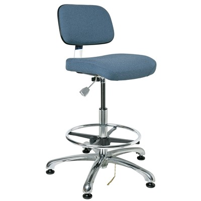 "Bevco 8550-F-SB - Doral-E 8000 Series ESD Laboratory Chair - Static Control Fabric - 21.5""-31.5"" - ESD Mushroom Glides - Slate Blue"