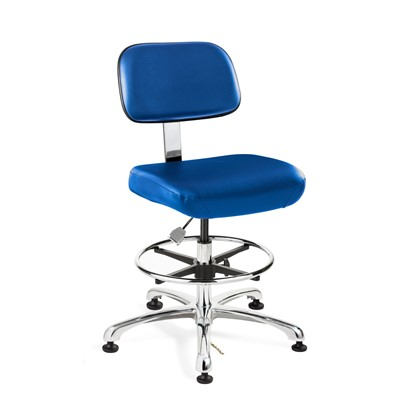 "Bevco 8550-V-BK - Doral-E 8000 Series ESD Laboratory Chair - Static Control Vinyl - 21.5""-31.5"" - ESD Mushroom Glides - Black"