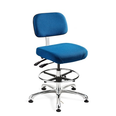 "Bevco 8551-F-SB - Doral-E 8000 Series ESD Laboratory Chair w/Seat & Back Tilt - Static Control Fabric - 21.5""-31.5"" - ESD Mushroom Glides - Slate Blue"