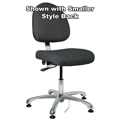 "Bevco 9050L-E-F-GY - Integra-E 9000 Series ESD Chair - Static Control Fabric - 15.5""-21"" - ESD Mushroom Glides - Gray"