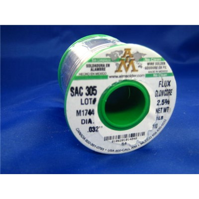 "AIM Solder 14048 - SAC305 SN96.5/AG3.5 Lead-Free Flux Glow Core No-Clean Solder Wire Spool - 0.032"" - 1 lb"