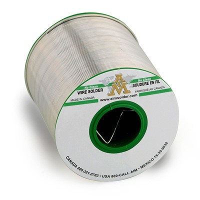 "AIM Solder 14054 - SAC305 Lead-Free Flux Glow Core No-Clean Solder Wire Spool - 0.020"" - 1 lb"