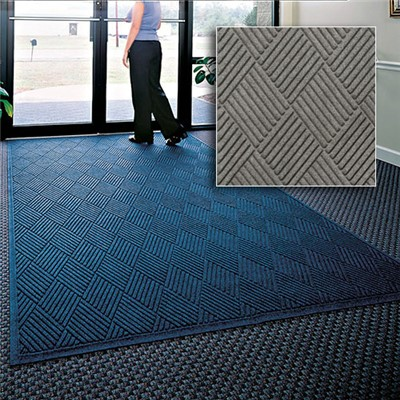 Andersen Co. - No. 221 Waterhog Fashion Diamond Entrance Mat - Scraper/Wiper - 4' x 12' - Cleated Back - Medium Gray