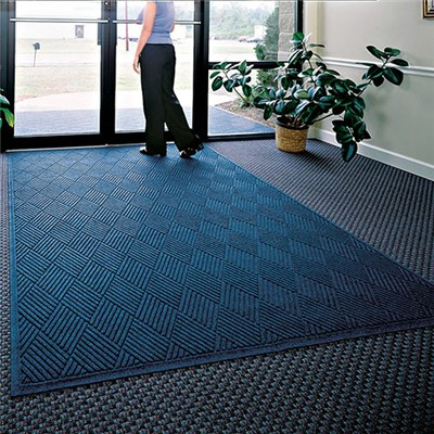 Andersen Co. - No. 221 Waterhog Fashion Diamond Entrance Mat - Scraper/Wiper - 6' x 6' - Cleated Back - Navy