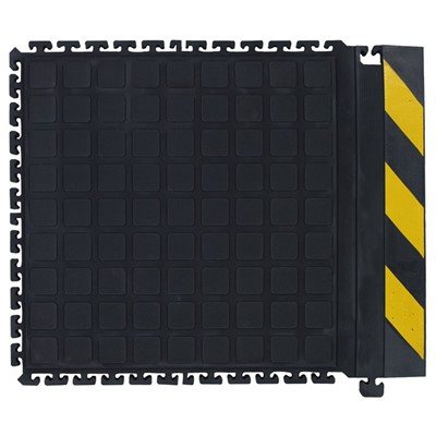 "Andersen Co. - No. 522 Hog Heaven Dry Anti-Fatigue Modular Tile III - Side - 18"" x 21.875"" - Black w/Yellow Chevron Borders"