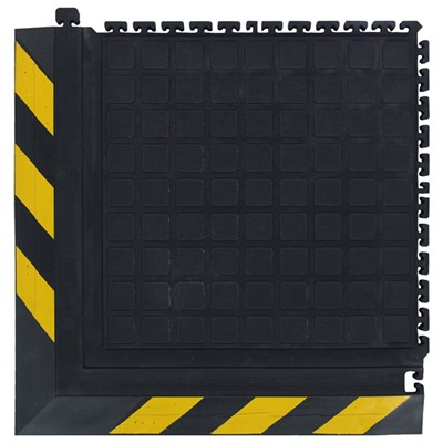 "Andersen Co. - No. 522 Hog Heaven Dry Anti-Fatigue Modular Tile III - Corner - 21.875"" x 21.875"" - Black w/Yellow Chevron Borders"