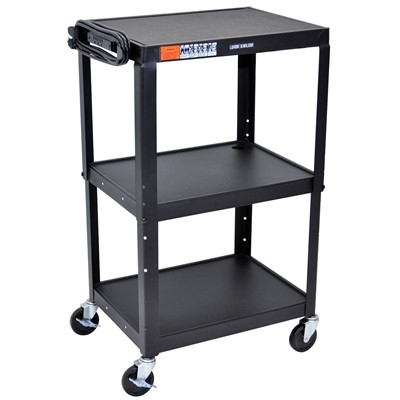 "Luxor/H Wilson AVJ42 - Adjustable Height Steel A/V Cart w/3 Shelves - 18"" x 24"" x 24""-42"" - Black"