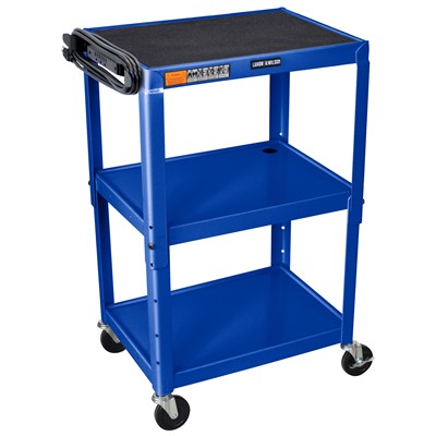 "Luxor/H Wilson AVJ42-RB - Adjustable Height Steel A/V Cart w/3 Shelves - 18"" x 24"" x 24""-42"" - Royal Blue"