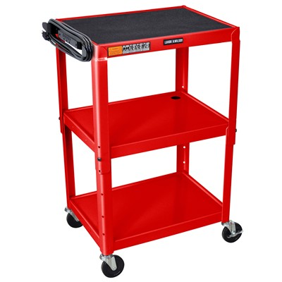 "Luxor/H Wilson AVJ42-RD - Adjustable Height Steel A/V Cart w/3 Shelves - 18"" x 24"" x 24""-42"" - Red"