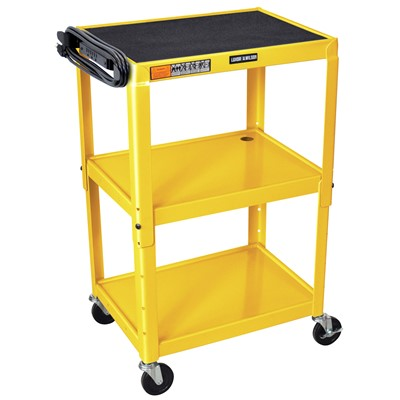 "Luxor/H Wilson AVJ42-YW - Adjustable Height Steel A/V Cart w/3 Shelves - 18"" x 24"" x 24""-42"" - Yellow"