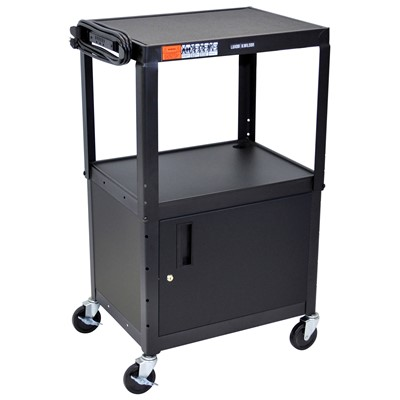 "Luxor/H Wilson AVJ42C - Adjustable Height Steel A/V Cart w/Cabinet - 18"" x 24"" x 24""-42"" - Black"