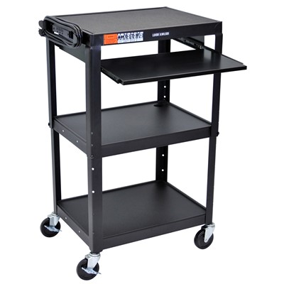 "Luxor/H Wilson AVJ42KB - Adjustable Height Steel A/V Cart w/Pullout Tray - 18"" x 24"" x 24""-42"" - Black"