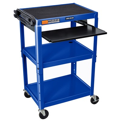 "Luxor/H Wilson AVJ42KB-RB - Adjustable Height Steel A/V Cart w/Pullout Tray - 18"" x 24"" x 24""-42"" - Royal Blue"