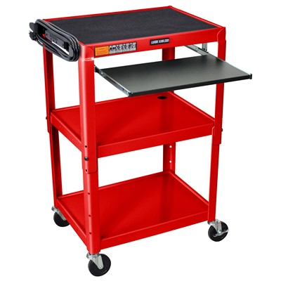 "Luxor/H Wilson AVJ42KB-RD - Adjustable Height Steel A/V Cart w/Pullout Tray - 18"" x 24"" x 24""-42"" - Red"
