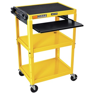 "Luxor/H Wilson AVJ42KB-YW - Adjustable Height Steel A/V Cart w/Pullout Tray - 18"" x 24"" x 24""-42"" - Yellow"